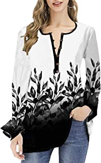 Miracle Womens Floral Gradient Tunic V Neck Tops Button up Casual Flowy T-Shirts Swing Ruffle T-Shirt