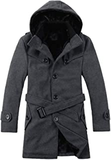 Men's Trench Coat Thick Hooded Jacket, Single Breasted Pea Long Slim Warm Daily Retro Business Outwear,dark gray,6xl