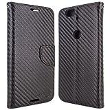 Google Nexus 6P Wallet Case, CoverON [Carryall Series] Flip Folio Card Slot Pouch Cover Screen Protector + Strap Case for Google Nexus 6P - Black Carbon Fiber Design