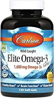 Carlson - Elite Omega-3 Gems, 1600 mg Omega-3 Fatty Acids Including EPA and DHA, Norwegian, Wild-Caught Fis...