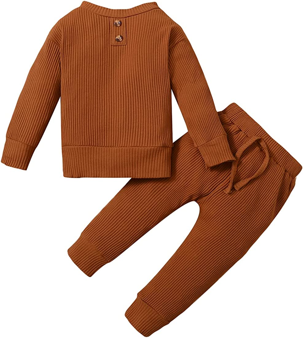 Unisex Toddler Baby Boy Girl Striped Clothes Set Long Sleeve Solid Color Top + Pants Set