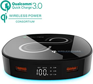 Wireless Quick Charge Power Bank,meiyi 10000mAh Qi Portable Battery Charger Dual QC 3.0 USB Output and QC 2.0 Input LED Display External Battery Pack for iPhone X/iPhone 8/8 Plus Samsung S8 S7