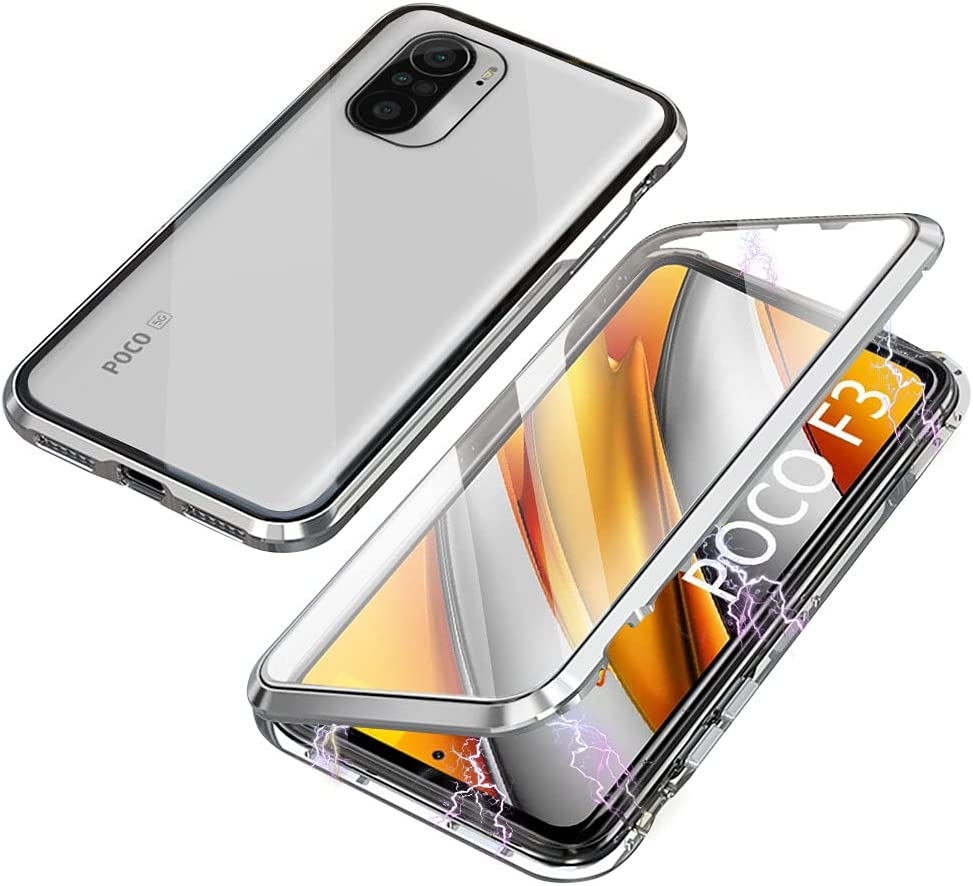 Funda Compatible con Xiaomi Poco F3 5G / Mi 11i 5G, Absorción Magnética Carcasa con Armario Diseño, Aluminio Bumper Transparente Vidrio Templado Case 360 Grados Cover, Plata