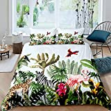 Homewish Flamingo Bettbezug 135x200 Palm Tree Bettwäsche-Set Gepard Zebra Papagei Trösterbezug Set Tropische grüne Pflanze Tagesdecke Bunt Room Decor Trösterbezug Set