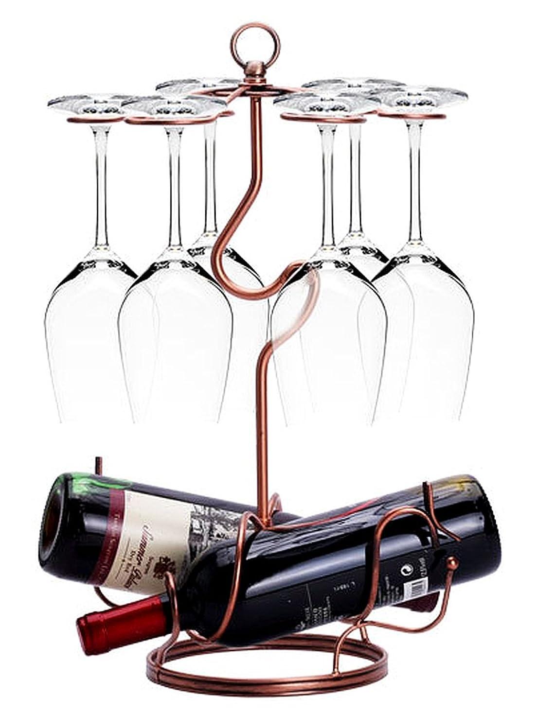 能力メンテナンス学ぶW6 インテリア ワインホルダー ワイングラス ホルダー ラック ワイン シャンパン ボトル スタンド アンティーク調 (ブロンズ)