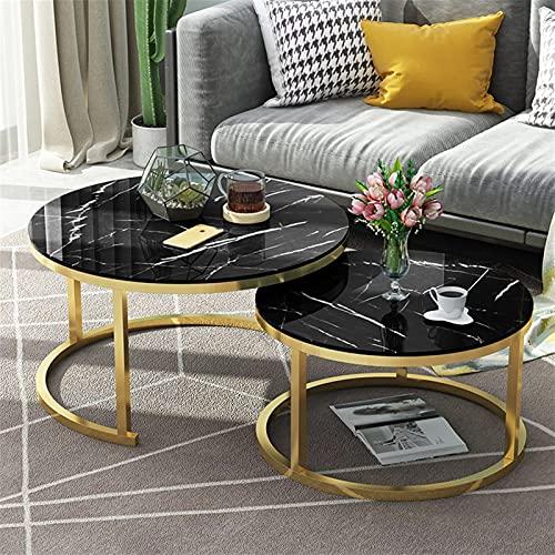 ZOYAFA Mesa de centro Mesa de centro para el hogar Mesas de sofá extensibles para sala de estar, muebles de lujo, mesas laterales redondas de cristal (color: dorado 4)