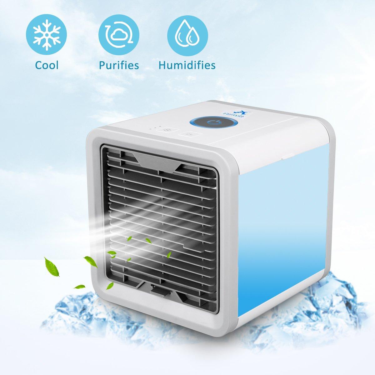 Aire Acondicionado Móvil para Escritorio / Hogar / Oficina ,3-en-1 Ventilador más frío,Humidificador & Purificador de Aire Personal USB Climatizador Portátil: Amazon.es: Bricolaje y herramientas