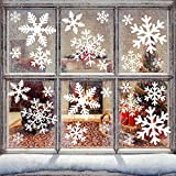 Pegatinasnavidad, Decoracionnavidadescaparates 87 pcs, Vinilosparaventanas 6 hojas, Pegatinasnavidadparaventanas reutilizable, PVC Pegatinas Copo de Nieve para decoracion navideña