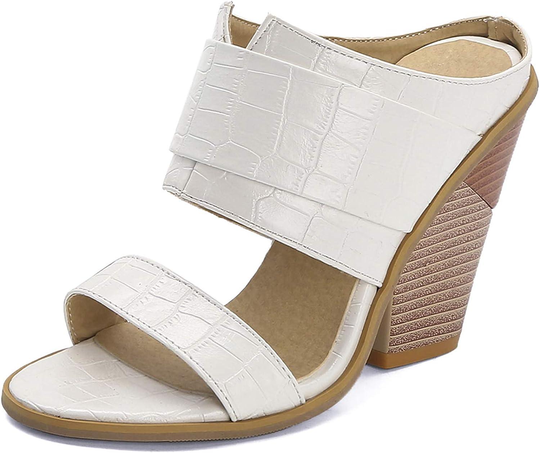 Womens Fashion Wedge High Heels Slide Sandals Open Toe Slip On Snakeskin Summer Slipper Shoes