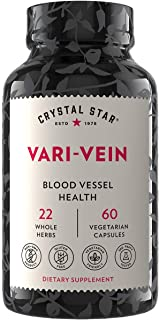 Crystal Star Vari-Vein (60 Capsules) - Herbal Circulation Support Supplement for Varicose Veins & Spider Veins Treatment -...