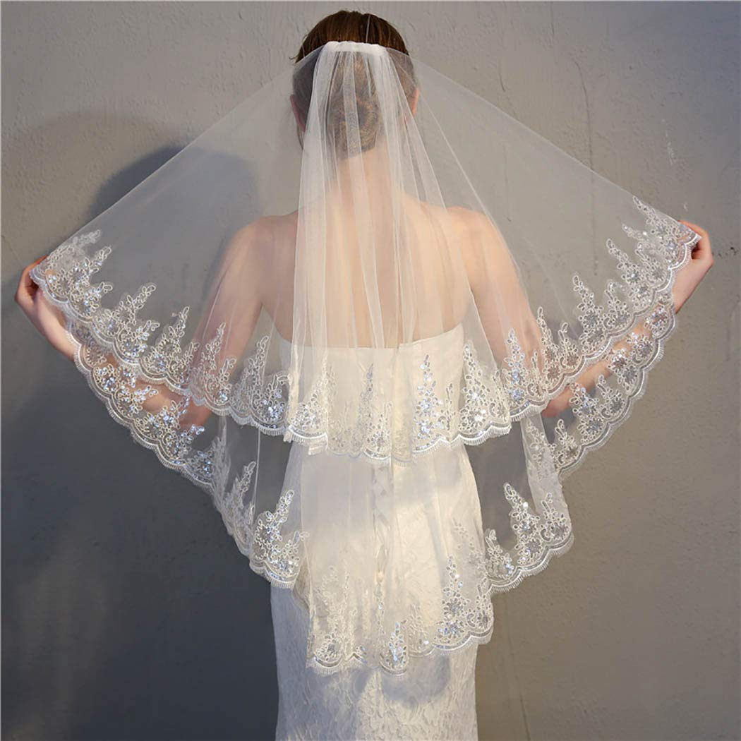Aetorgc Women's Sequin Wedding Veils Appliqued Veil Two-Tier Fingertip Length Soft Tulle Bridal Veils With Comb Accessories (Ivory)