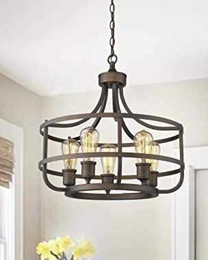 Zeyu 5-Light Industrial Round Chandelier, 20 Inch Farmhouse Kitchen Pendant Light for Dining Room, Oil Rubbed Bronze Finish,