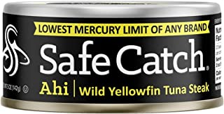 Safe Catch Ahi, Lowest Mercury Solid Wild Yellowfin Tuna Steak, 5 oz Can. The Only Brand to Test Every Tuna for Mercury (P...