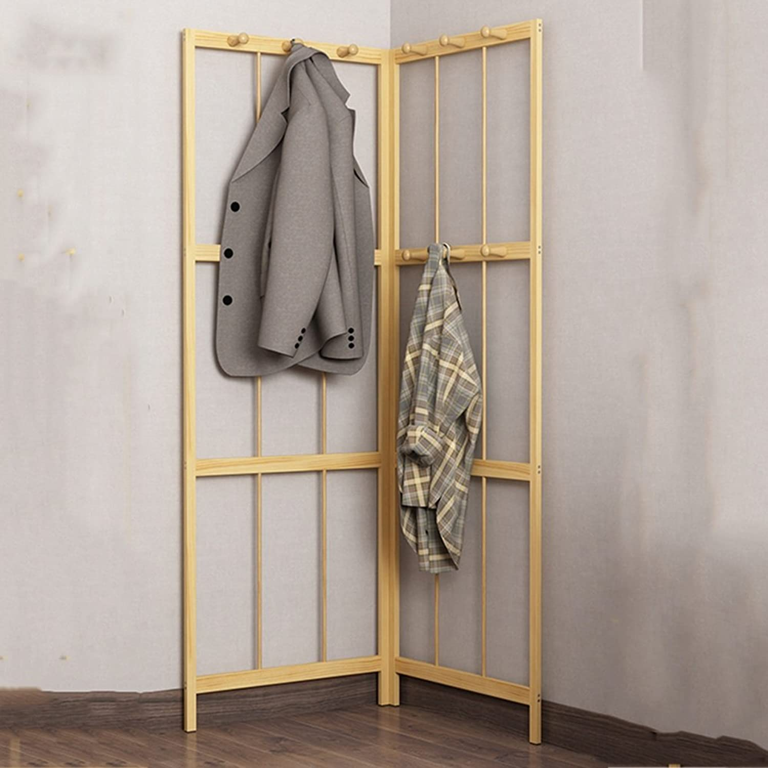 Floor Standing Hat and Coat Coat Rack Clothes Hat Tree Corner Coat Rack Floor Wall Hanger Solid Wood Shelf Stand Bag Holder (Nan Zhu Pine Board 57cm57cm114cm) ZHANGQIANG (Size   Pine - Two)