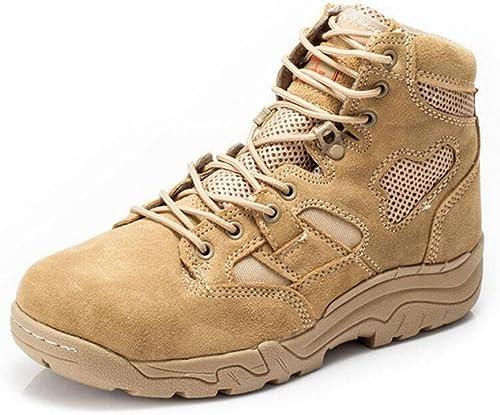 GLSHI Men Breathable Low Rise Bottes tactiques Bottes de désert 07 Bottes de combat en cuir Sports de plein air Chaussures de randonnée
