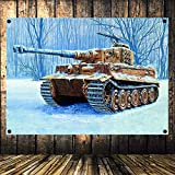 WW2 GER Panzergrenadier vs Russian Tank Battle Scene Military Posters Flag Banner Tapestry Mural Vintage Decor Upholstery 144X96CM (38X57 inches) A1