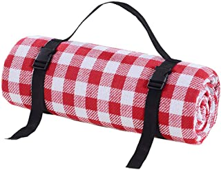 Picnic Blankets Outdoor Carpet Mat Red and White Grid - Waterproof Extra Large | Beach Blanket Sand,For spring travel, cam...