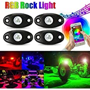 AMBOTHER 4Pcs Car RGB LED Rock Underglow Lights Kit Underbody Waterproof Trail Rig Neon Lights Kit with Cell Phone APP Mini Blue++++tooth Control for JEEP Off Road Trucks Car ATV SUV Vehicle Boat