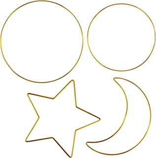 DILNAZ ART 4 Pack Metal Floral Hoop, Wreath Macrame Gold Hoop, Ring Star Moon Shape for Making Wreath Decor, Dream Catcher...