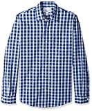 Amazon Essentials Men's Slim-Fit Long-Sleeve Casual Poplin Shirt, Blue Plaid, Medium