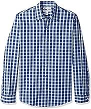 Amazon Essentials Men's Slim-Fit Long-Sleeve Casual Poplin Shirt, Blue Plaid, Large