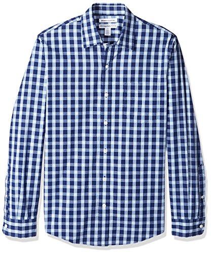 Amazon Essentials - Camicia da uomo a maniche lunghe, slim fit, in popeline casual, Blue Plaid, US M (EU M)