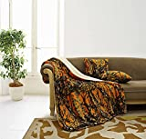 Regal Comfort The Woods Luxury 3pc Set Orange Sherpa 50'x70' Fleece Blanket and 18'x18' Plush Throw Pillows Home Collection - Siesta Throw Blankets with 2pc Decorative Pillows for Sofas and Couches