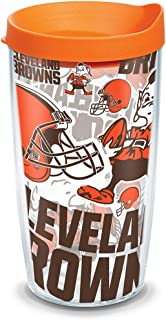 Tervis 1302762 NFL Cleveland Browns All Over Insulated Tumbler with Wrap and Orange Lid, 16oz, Clear