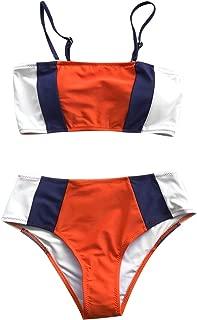 CUPSHE Women's Tricolor Bandeau Bikini Set Swimsuit