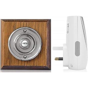 Honeywell 200m Wireless Doorbell kit with Chrome on Unvarnished Oak Plinth