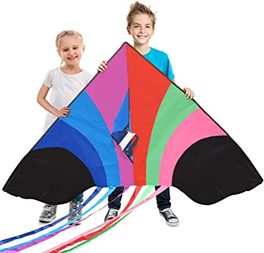 Stoie's Huge Rainbow Kite for Kids and Adults–1.6M Wide–100 Meter String–Rainbow Color-Built to Last