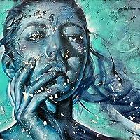 DIYデジタル油絵キャンバス_水泳の女性_大人の染色アートぬりえデジタル油絵セット大人の子供初心者油絵セット_家の装飾とホリデーギフト_30x40cm_フレームレス