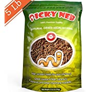 PICKY NEB 100% Non-GMO Dried Mealworms 5 lb - Whole Large Meal Worms Bulk - High-Protein Treats Perfect for Your Chickens, Ducks, Wild Birds