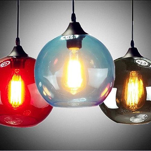 Pendentif moderne lumière boule Couleuré verre vintage salon lampe lampe bar à hommeger café boutique décoration LED luminaire AC110-265V, clair, 20 cm