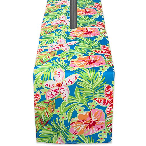 DII Summer Floral Outdoor Table Runner With Zipper, 14x72 w