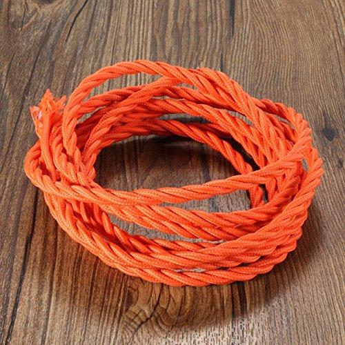 MASUNN 3M Vintage Coloré DIY Twisted Tissu Flex Cable Câble Fil Électrique Lampe De Lumière-Orange