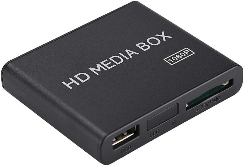 01 HDMI Media Player Box,110-240V Full HD Ultra Mini Box Media Player 1080P Media Player Box Support USB MMC RMVB MP3 AVI MKV USB Drives and SD Cards(Transl, U.S. regulations)