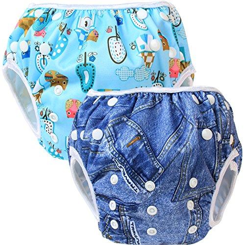 Teamoy Pañal Bañador (2 piezas) Pañal de natar Pantalones de entrenamiento,Denim+Vida cómoda