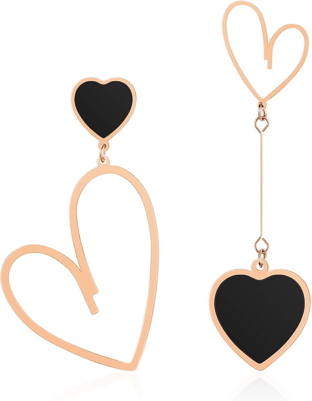 Jertom 14K Superlatite Gold Plated Mismatch Drop Earr Heart Asymmetry Dangle Online limited product