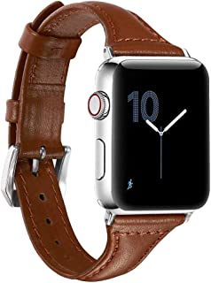 SUKEQ for Apple Watch Band 40mm, Slim Leather Replacement Sport Strap iWatch Wristband Bracelet Accessory for Apple Watch Series 4 40mm for Men Women