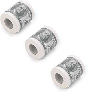 HDE 74300 Novelty $100 USD Dollar Bill Funny Money Currency Toilet Tissue Paper (3 Rolls), white