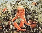 Fuumuui DIY Malen Nach Zahlen-Vorgedruckt Leinwand-Ölgemälde Geschenk für Erwachsene Kinder Kits Home Haus Dekor - Winkel Mit Kaninchen 40*50 cm
