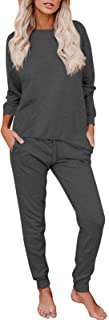 Fixmatti 2 Piece Outfit Solid Color Casual Loungewear Sweatsuits for Women