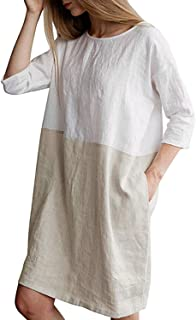 GZBQ Women Soft Linen Cotton Oversized 3 4 Sleeve Loose T Shirt Dress with Pockets