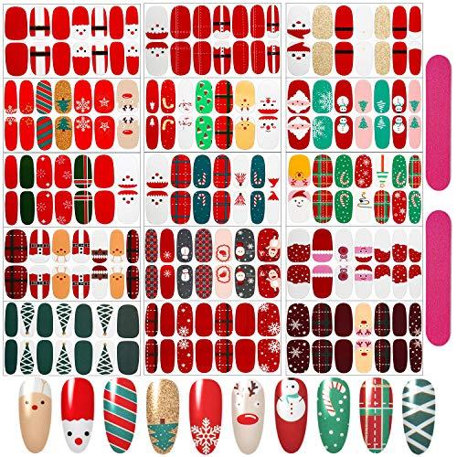 15 Pieces Christmas Nail Polish Wraps Full Wrap Nail Stickers Christmas Nail Polish Strips and 2 Pieces Nail Files for Nail Art Women Girls Christmas Birthday Party (Classic Christmas Style)