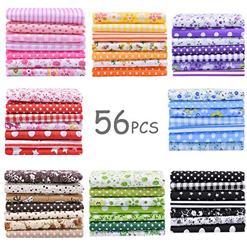 56 Pieces 9.8'x 9.8' (25cm x 25cm) Squares Cotton 100% Floral Printed Sewing Supplies Fabric for Quilting Patchwork, DIY Craft, Scrapbooking Cloth