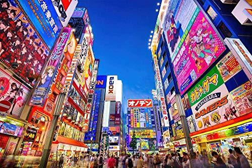 KKASD Puzzle Adult 1000 Piezas Distrito de Anime Otaku de Tokio 1000 Comprimidos para Adultos Juegos Familiares para niños y Adultos (75x50cm)