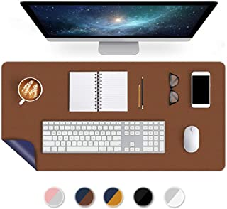Dual-Sided Desk Mat 24 X 60 Inch Extra Large Desk Writing Pad on Top of Desks Office Desk Pad PU Leather Desk Blotters Protector Laptop Computer Keyboard Gaming Mouse Pad Organizer Non-Slip Brown/Blue