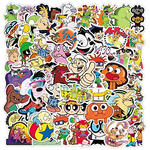 PMSMT 50 pezzi Classico cartone animato Anni '90 Graffiti Impermeabile Skateboard Valigia da viaggio Adesivi per bagagli per Laptop per telefoni Cute Kids Girl Toys