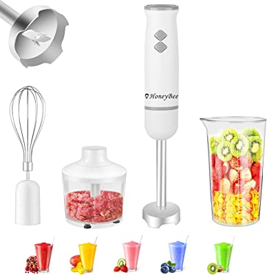 Immersion Blender Comfortable to Hold Easy to Use Hand Blender, Stick Blender Bpa-Free 18/8 Stainless Steel Components Powerful Motor that Handles A Wide Variety of Blending, Chopping, Mixing Tasks
